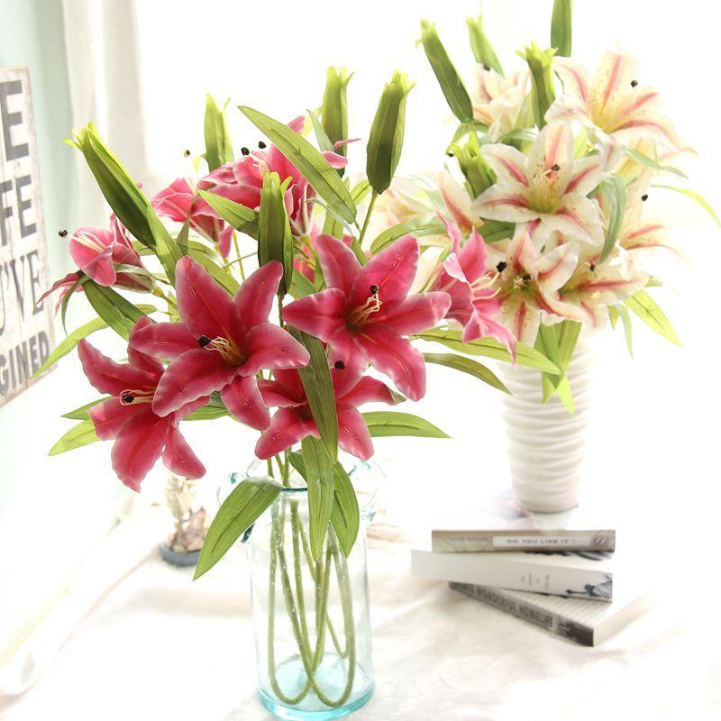 Nueva flor de lirios artificiales Bouquet 3 cabezas de boda Floral decoración del hogar de la flor Real Touch ramo de flores de la boda