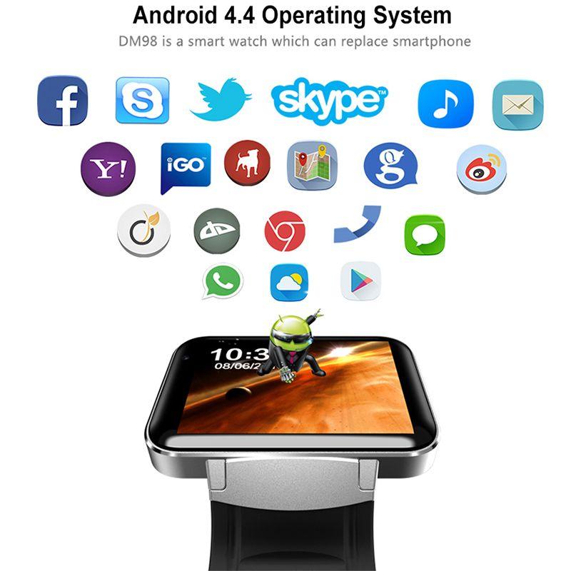 DM98 Relógio Inteligente Android Tela Grande 320 * 240 MTK Dual Core 1.2G 900 mAh com WIFI 3G GPS Smartwatch Para Android IOS Assista Homens
