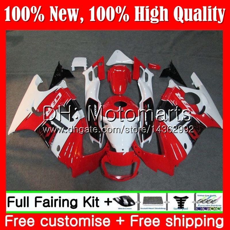 Cuerpo blanco rojo para HONDA CBR600RR F3 CBR600FS CBR 600 F3 97 98 48MT17 Rojo CBR 600F3 FS CBR600F3 CBR600 F3 1997 Kit de carrocería Fairing
