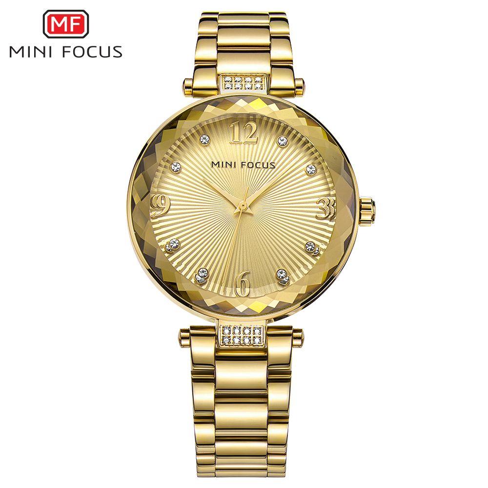 MINIFOCUS 2018 Nuevo Diamante Relojes de Oro Reloj de Las Mujeres Banda de Acero Inoxidable de Moda Casual Relojes de pulsera de Cuarzo Señora de Regalo