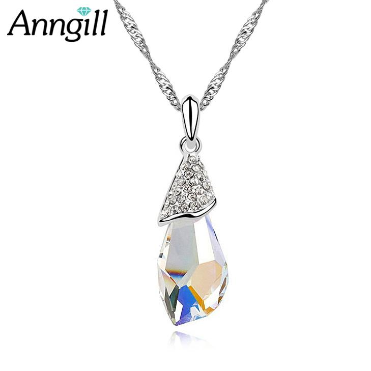 Mother Gift Genuine Crystal From Swarovski Water Drop Pendant Necklace Top Quality Jewelry For Women Fashion Design Dropshipping