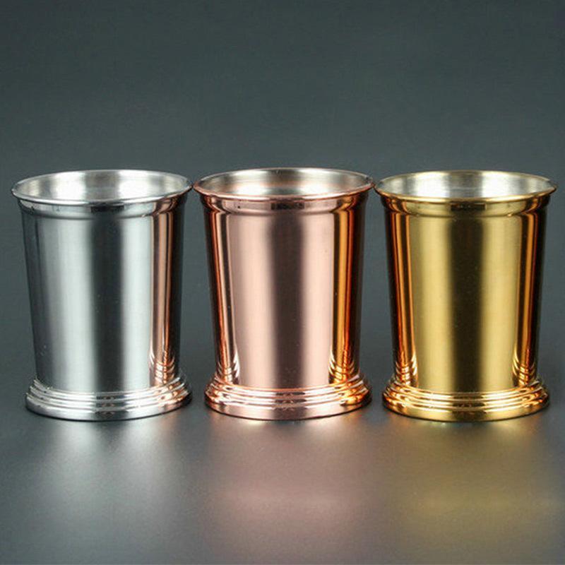 304 Aço Inoxidável caneca de cerveja de cobre pisou Mojito Mint Julep Copos 3 Cores Sessile Copo Em Linha Reta Boa Copa Bom Sentimento