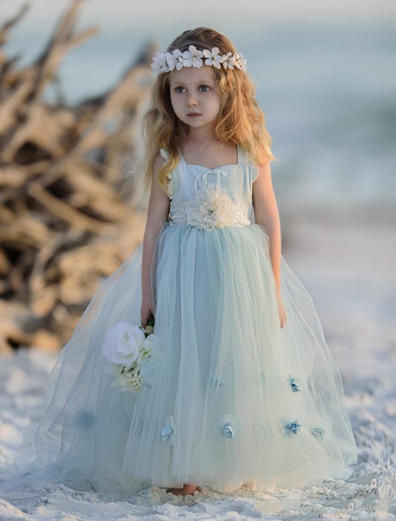 Light Sky Blue Tulle Flower Girls Dresses For Wedding Handmade 2018 ...