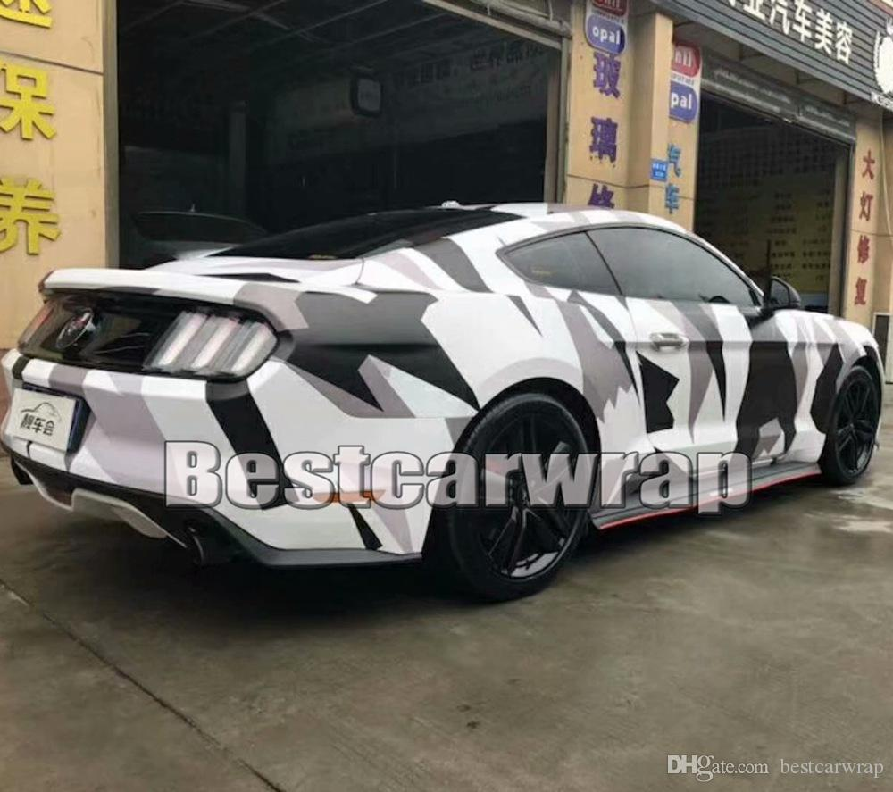 Large Pixed Camo VINYL Wrap Full Car Wrapping Acrtic Black White Grey Camo Foil Stickers with air free size 1.52 x 30m/Roll 5x98ft
