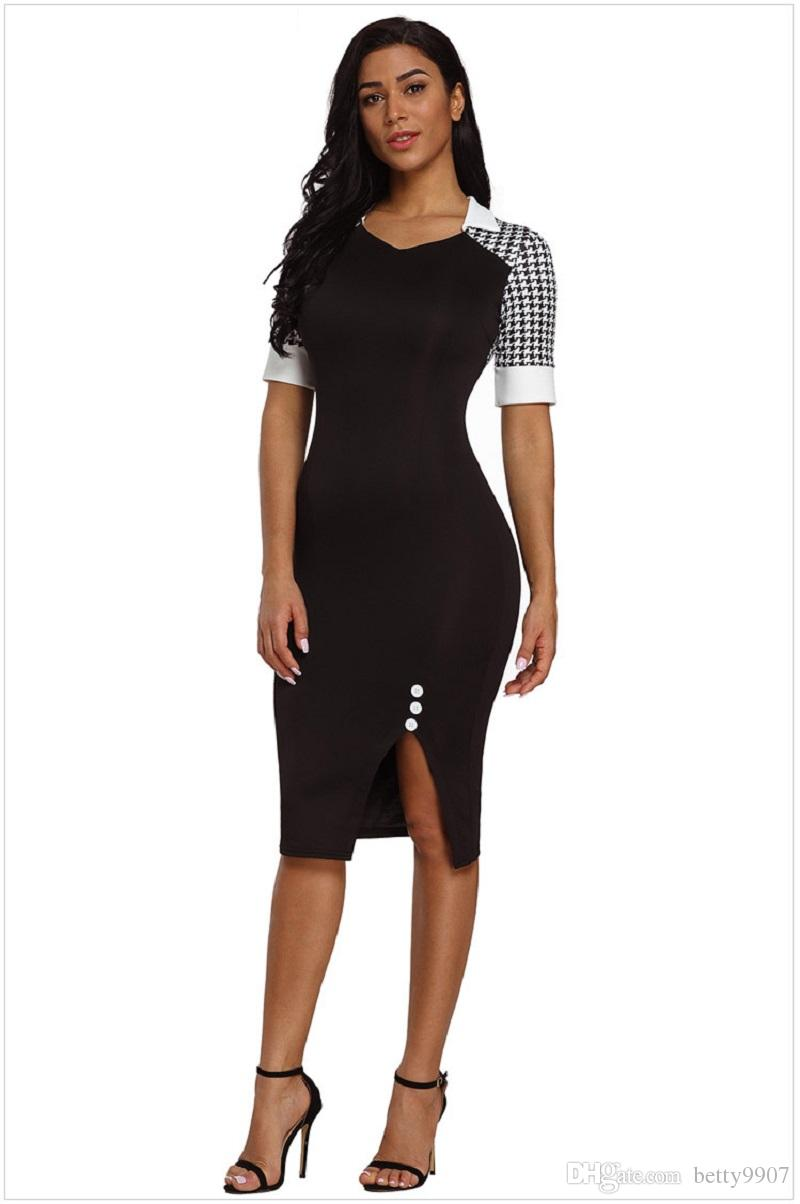 2019 Plus Size Slit Dress Bodycon Office Business Houndstooth Patchwork  Midi Sheath Dresses Wear To Work Summer Slim Red Black Women Clothing From  ...