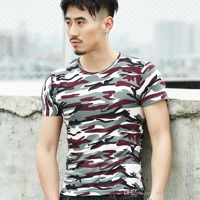 Мода камуфляж футболка мужская Марка одежда лето с коротким рукавом футболки мужской топы высокое качество стрейч повседневная футболка