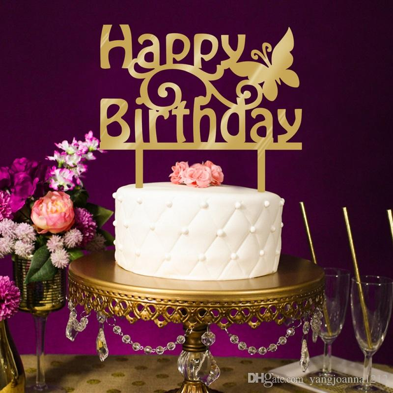 Prime 2020 Wholesale Acrylic Happy Birthday Cake Topper Mirror Gold Cake Funny Birthday Cards Online Elaedamsfinfo