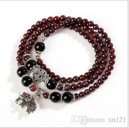 불교 구슬, 티베트어, 자연 붉은 가닛,기도 구슬, 주마 라 불교 팔찌, 멀티 서클 숙녀 보석.