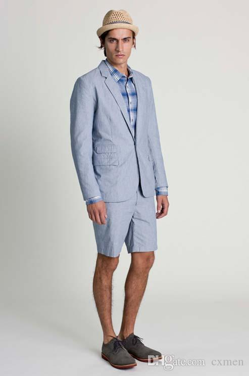 Custom Made Blue Slim Fit Men Suits 2018 Wedding Gray Summer Beach Suit With Short Pants Groom Wear 2 Pieces Tuxedos(Jacket+Pants)