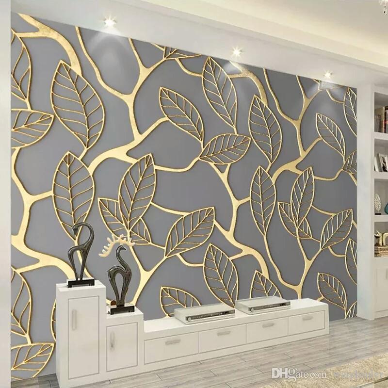벽에 사용자 정의 사진 벽지 3D 입체 골든 트리 나뭇잎 거실 TV 배경 벽 벽화 크리 에이 티브 벽 종이 3D