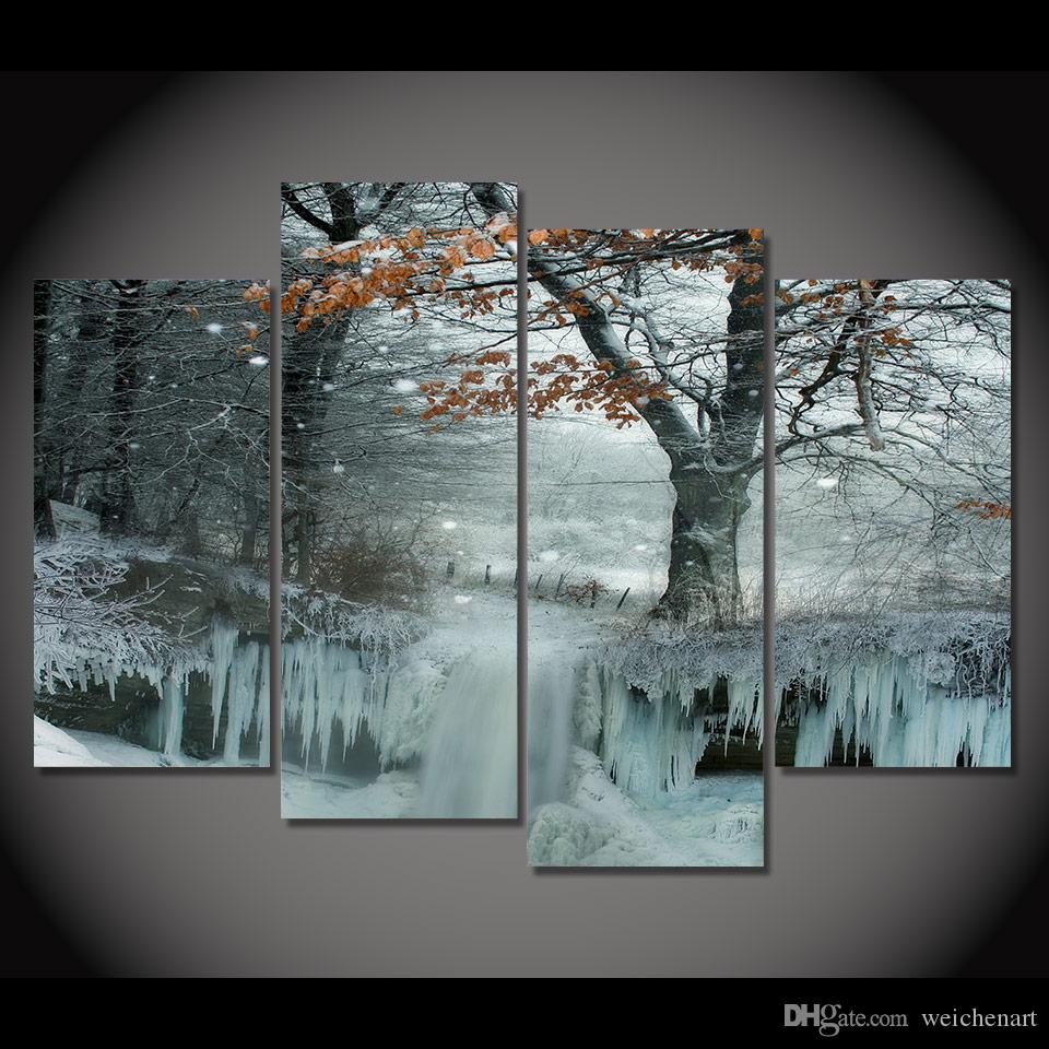 4 Piece Canvas Painting Frozen Snow Tree HD Printed Canvas Art Prints Wall Art Home Decor Poster Pictures for Living Room XA181B