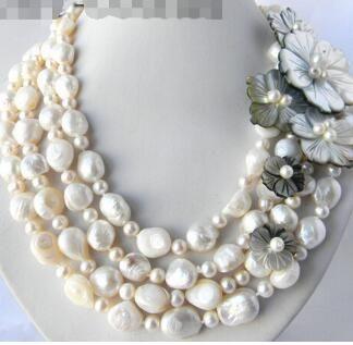 """Бесплатная доставка 4Strands 18 """" 13 мм белый круглый барокко пресноводных Жемчужина оболочки цветок ожерелье"""