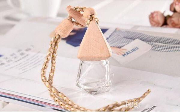 Fabrik-Preis 8 ml Mini Glas Parfüm-Flasche Aromatherapie Autofalldekoration hängt Parfüm-Flaschen mit Holzdeckeln von dhl