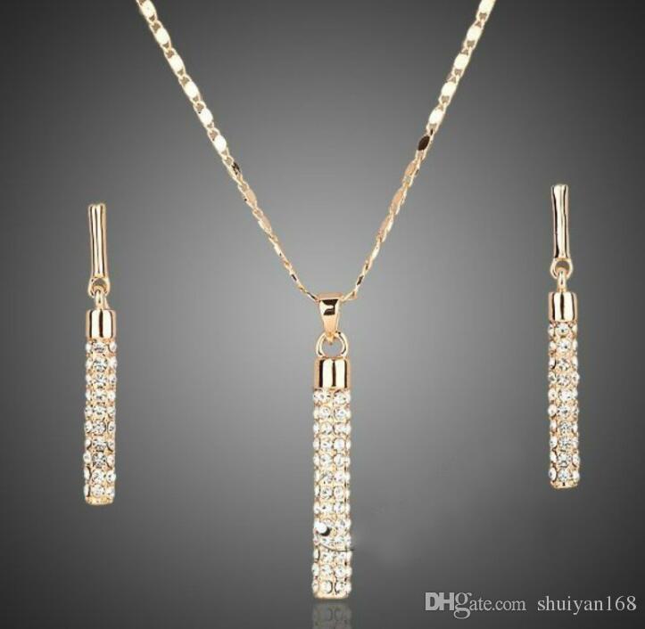 Plaqué or 18k Boucles d'oreilles diamant Pendentif Collier Sets Marque Element Fashion strass Ensemble de bijoux pour les femmes de soirée de mariage