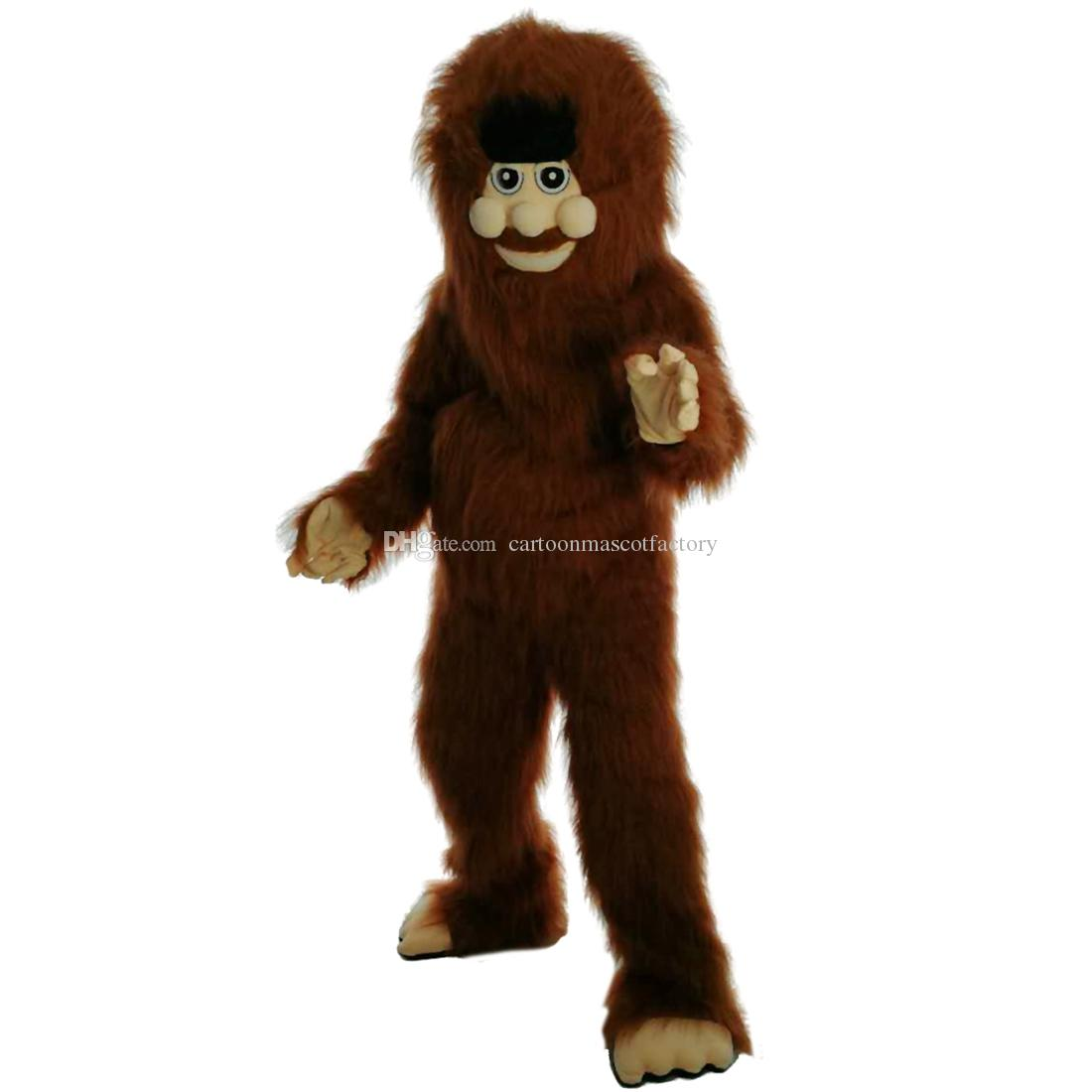 Long-haired wild man savage Mascot Costumes Cartoon Character Adult Sz 100% Real Picture 068