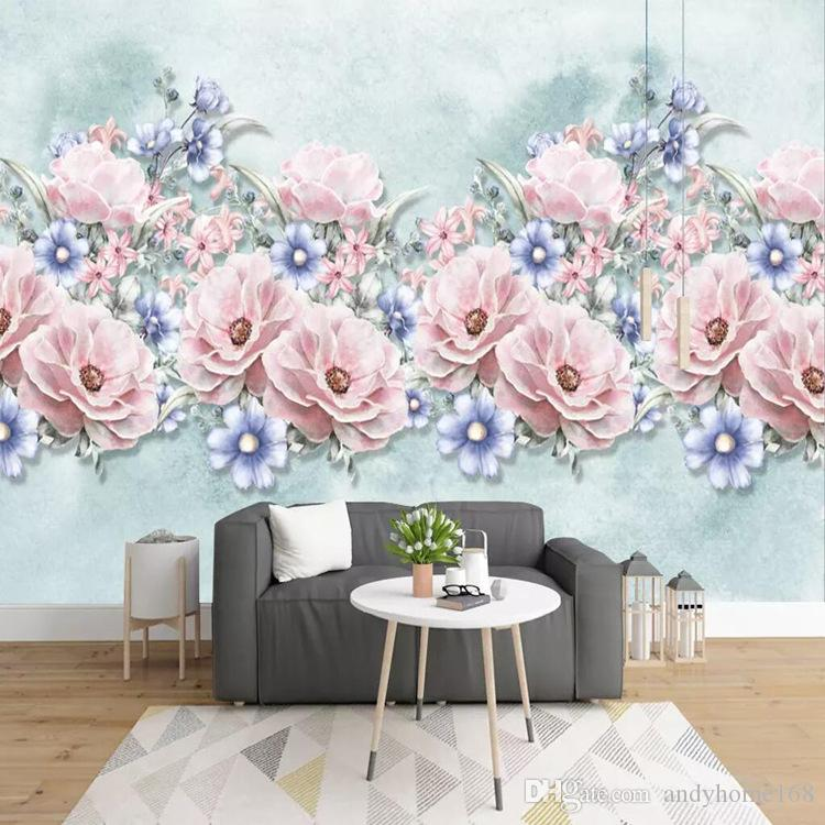 3d European minimalist mural hand-painted watercolor rose living room bedroom TV background wallpaper wall covering wallpaper
