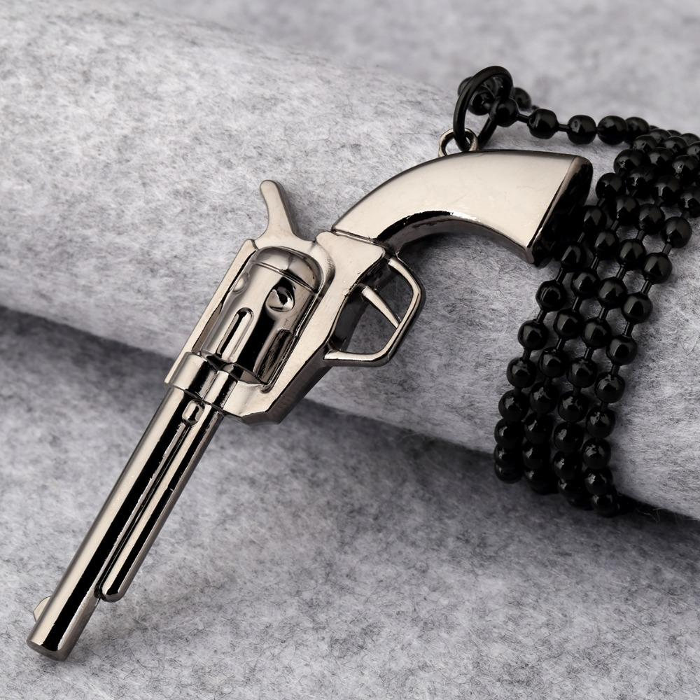 Hip Hop Rock Music Jewelry Gifts Chains Plated Iced Out Bling Revolver Necklaces Men Women Gun Pistol Pendants