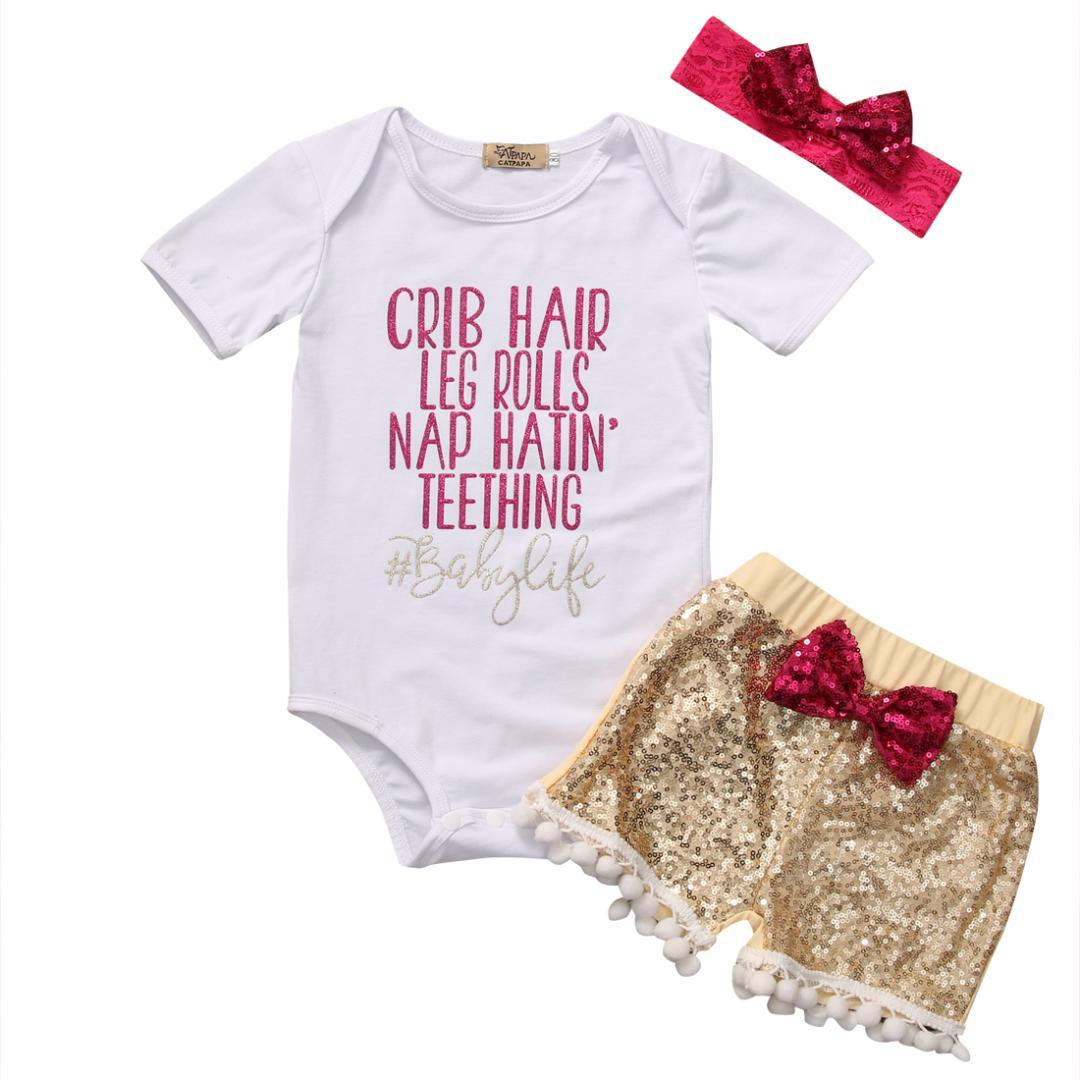 2019 New Fashion Soft AU Ship Baby Girl Clothing Short Sleeve Tops Romper  Sequin Pants Outfits Set Clothes From Dejavui, $35.63