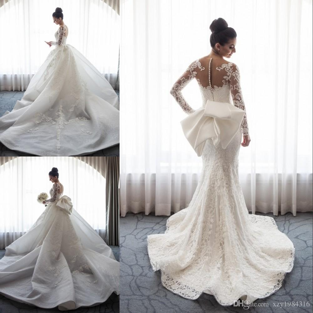 classic elegant mermaid wedding dress detachable overskirt stunning lace  appliqued long sleeve queen bridal dress glamorous wedding gowns designer