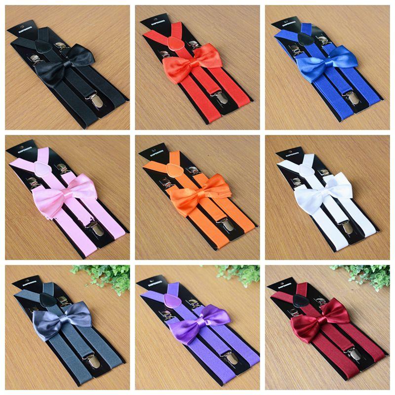 22 couleurs adultes bretelles hommes mariage noeud papillon ensemble de jarretelles alliage 3 clips élastique jarretelles pantalons ceintures sangle