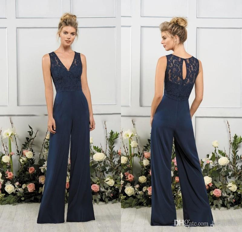 2020 Jasmine Jumpsuits Bridesmaids Dresses V Neck Dark Navy Maid of Honor Gowns Beach Cheap Wedding Guest Party Dress Vestidos De Novia