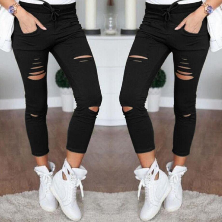 Compre Pantalones Vaqueros Rotos Flaco Rodilla Destruida Negro Blanco Elastico Cintura Alta Orificio De La Mujer A 22 75 Del Algelooo Dhgate Com