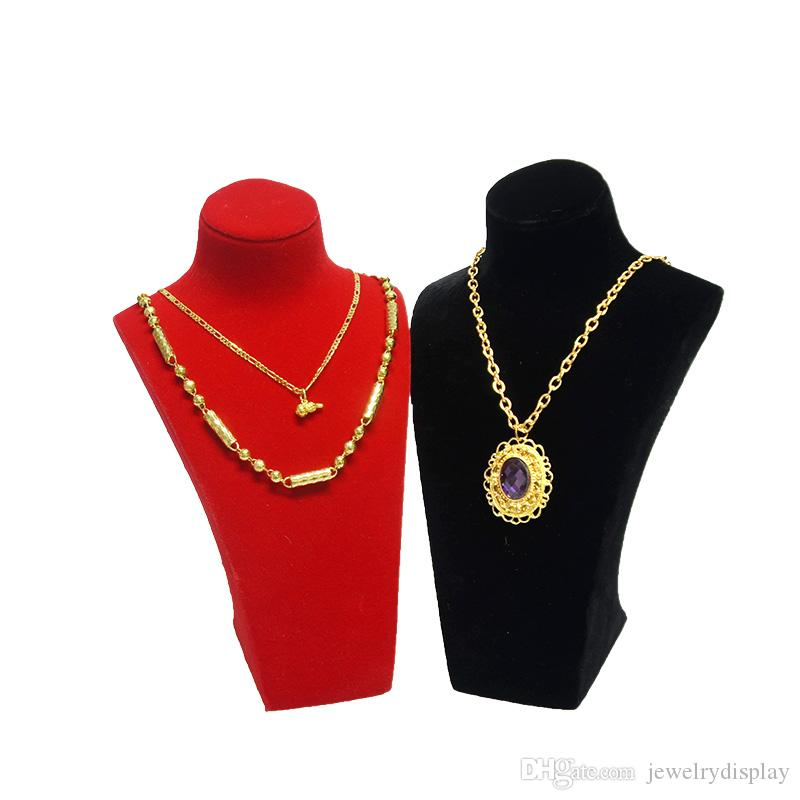 High Quality Resin Mannequin Jewelry Pearl Chain Pendant Display Bust Velvet Gold Necklace Organizer Exhibitor Hold Stand Chest