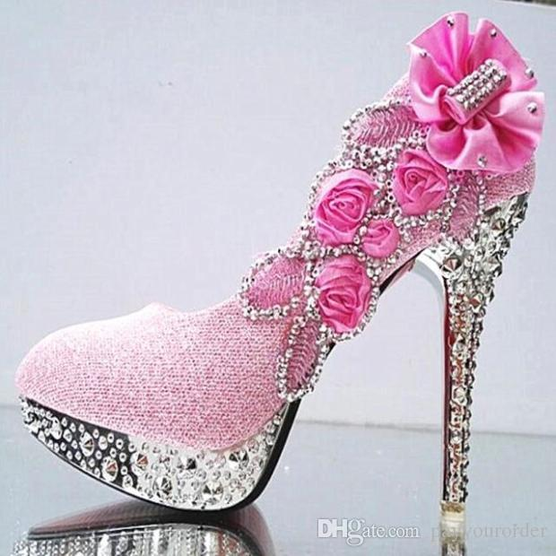 pink color new hoes PLATFORM fine GOLD crystal high-heeled shoes with white wedding shoes bride female shoe223