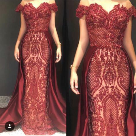 Abito da sera Abito lungo Red Embroided Bateau Beaded Elegante O-Neck Ruffle Satin Split Zip laterale Mermaid Zuhair murad Kim kardashian