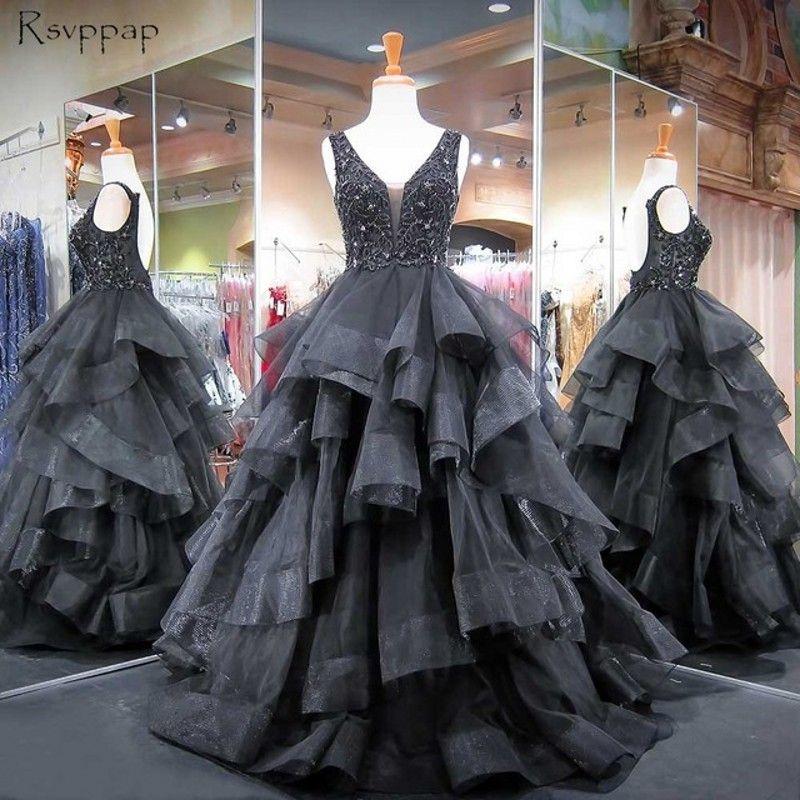 Najwyższej Jakości Czarne Gotyckie Suknie Ślubne 2018 V Neck Backless Heavy Corading Bors Cascading Ruffles Puffy Spódnica Arabskie Suknie Ślubne