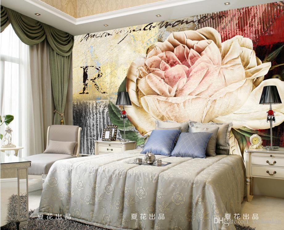 غرفة المعيشة الحديثة 3D غرفة نوم خلفية روز زهرة اللوحة خلفيات 3D الجداريات خلفية ديكور المنزل