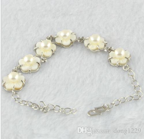 Affascinante bracciale in perle coltivate d'acqua dolce bianca / rosa