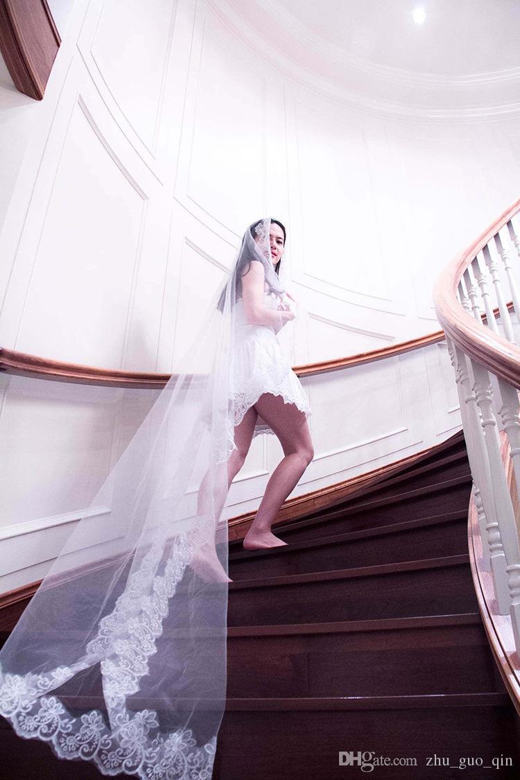 5 метров вуаль Оптовая простой тюль аппликация свадебные вуали свадебные аксессуары Белый свадебные вуали свадебные аксессуары