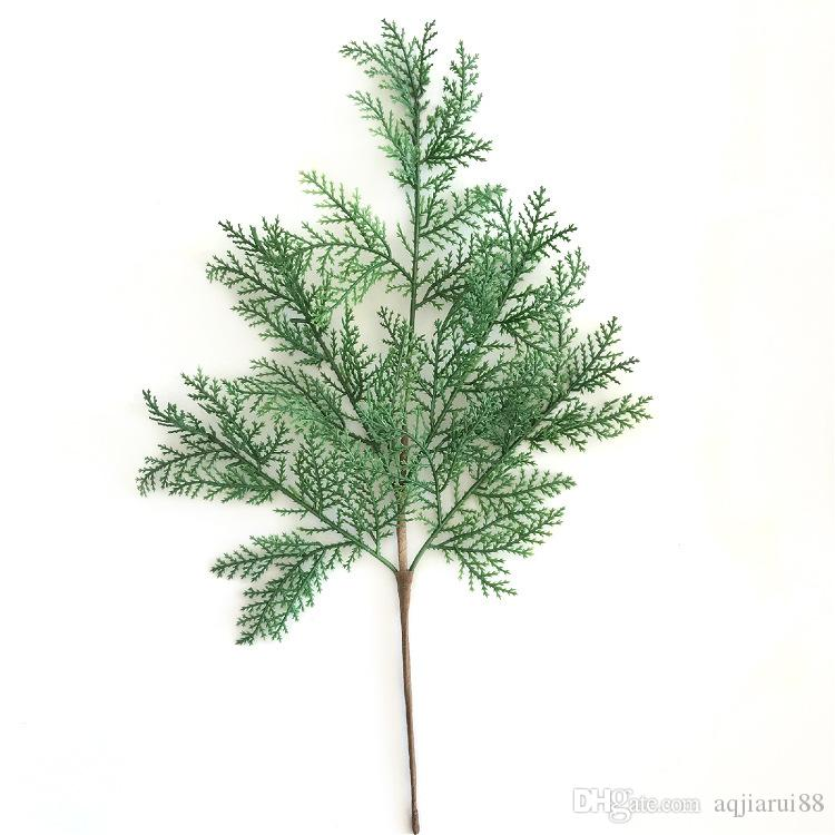 10pcs/lot 2018 Hot Sale Artificial Leaves Plants Christmas Decoration Plastic Cypress Leaves Pick Free Shipping