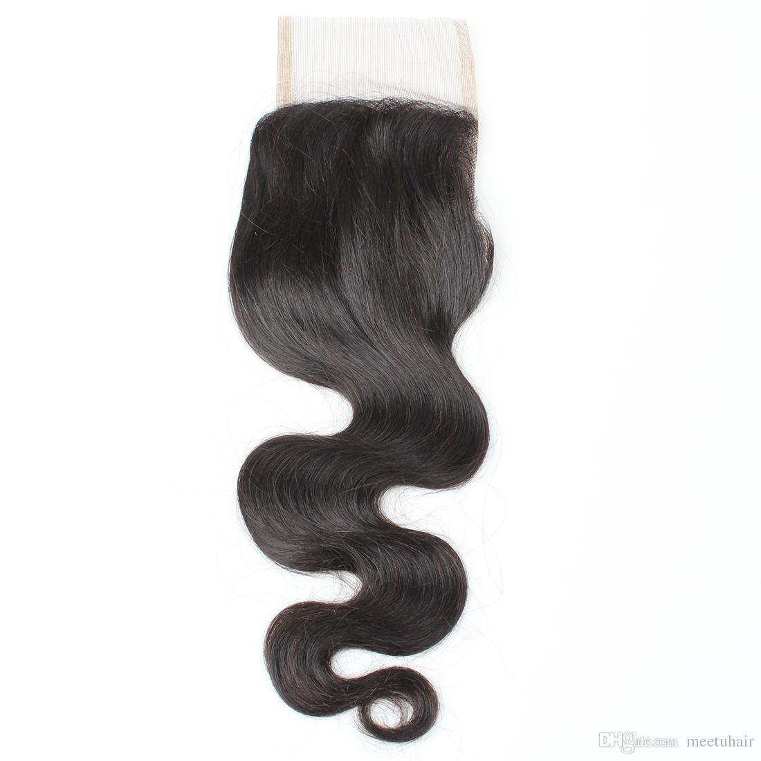 8A Virgin Human Hair Closure 4*4 Body Wave Swiss Lace Closure Middle Free Three Part Brazilian Peruvian Malaysian Indian Hair Extensions