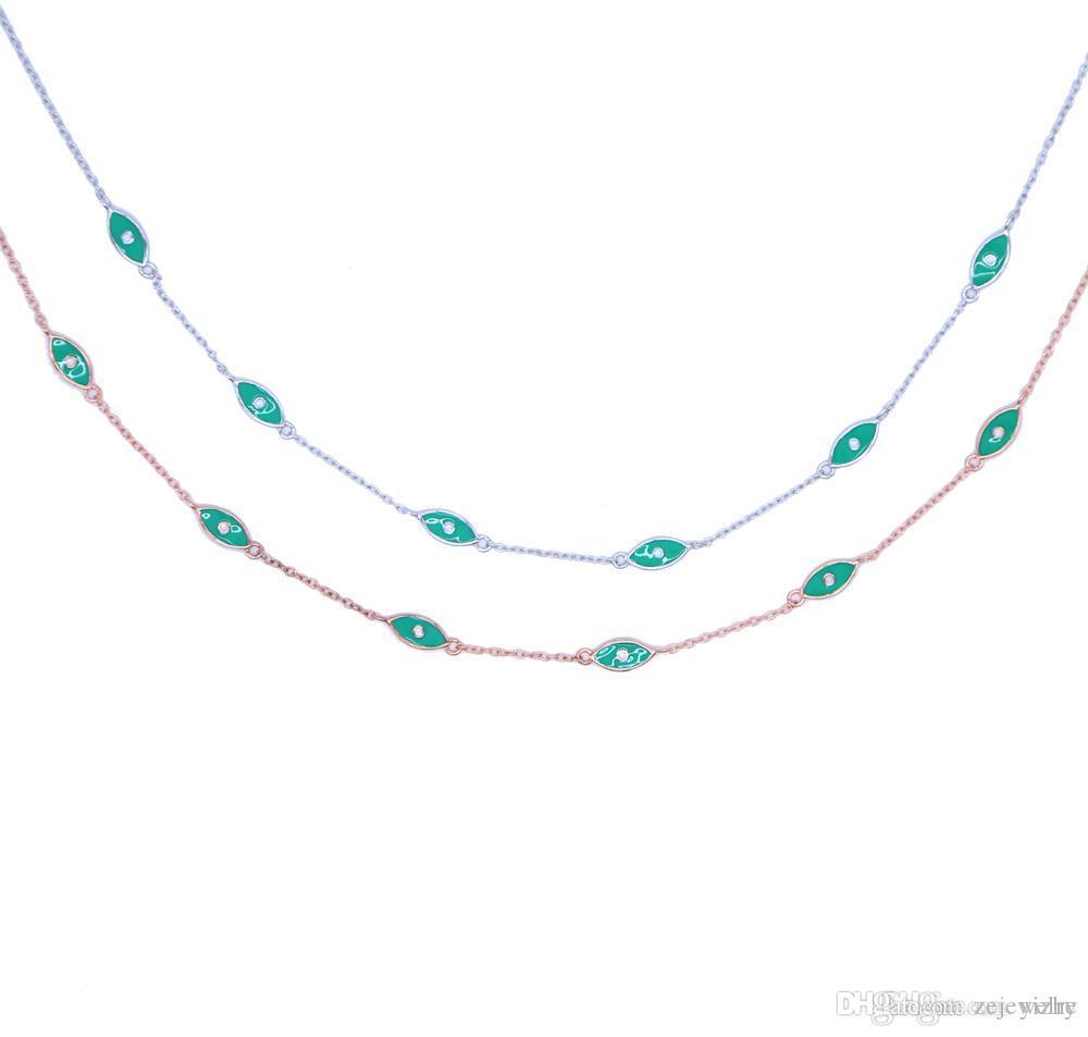 Роскошный завод штраф 925 стерлингового серебра зеленый клизмы звено цепи колье заявление ювелирные изделия сглаза серебряные женщины лакомство ожерелье