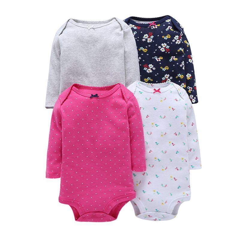 4pcs été bébé fille combinaisons ensemble rose rouge point manches longues fleurs coton bébé combinaisons fille vêtements ensembles ROBG080711283