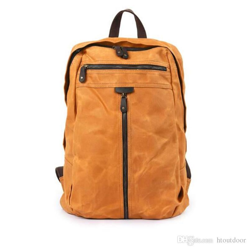 4 لون خمر جلد طبيعي قماش حقيبة الظهر النفط الشمع للماء حقيبة سفر حقيبة الأمتعة في الهواء الطلق