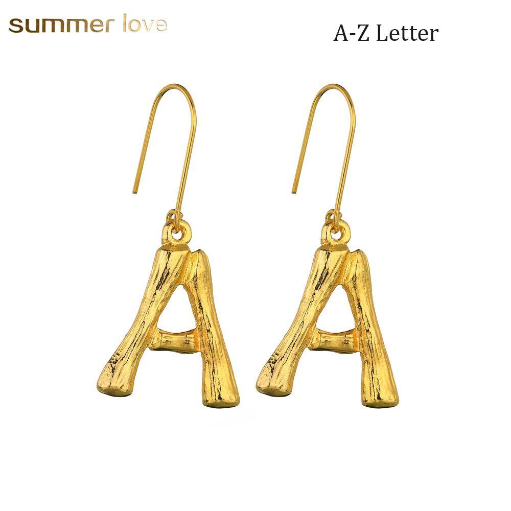 Designer A-Z Letter Earrings for Women Girls 26 Letters Alphabet 18K Plated Bamboo Dangle Earring Jewelry Gift