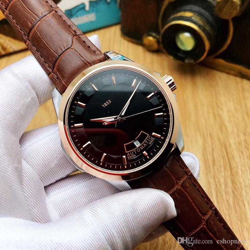 Les hommes d'affaires montre 43mm cadran véritables montres-bracelets mécaniques automatique Bracelet en cuir pour hommes meilleur Relógios cadeaux Masculinos