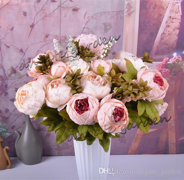 Yapay çiçekler Şakayık Buket Sahte ipek çiçek Retro Vintage Avrupa Simülasyon köpük şakayık Ev masa doğum günü partisi düğün süslemeleri