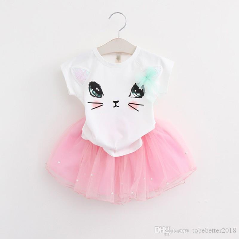 Sommer-Mädchen-Kleidungs-Satz-Kind-Kleidung-Karikatur-Katze Kinder Kleinkind-Tops T-Shirts + Tutu legere Kleidung