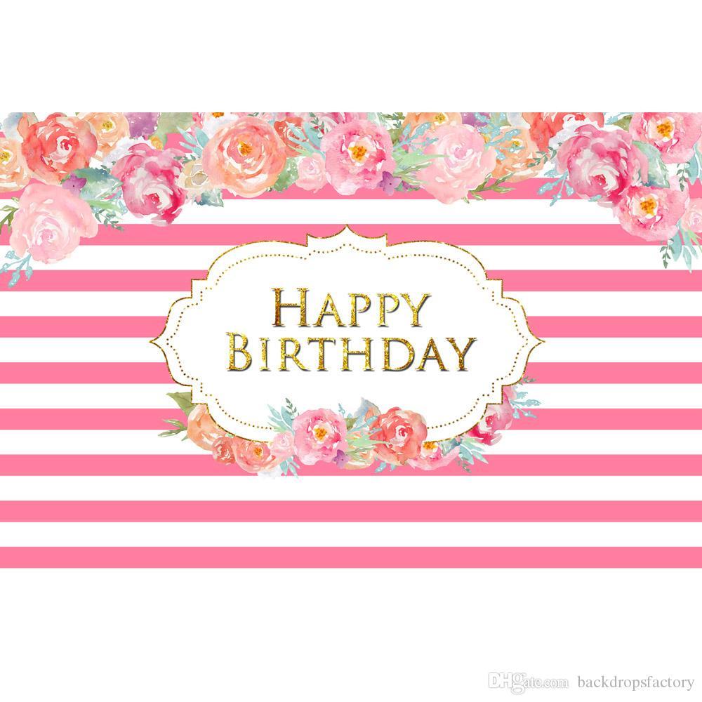 Acquista Sfondo Di Compleanno Con Strisce Bianche E Rosa Fiori