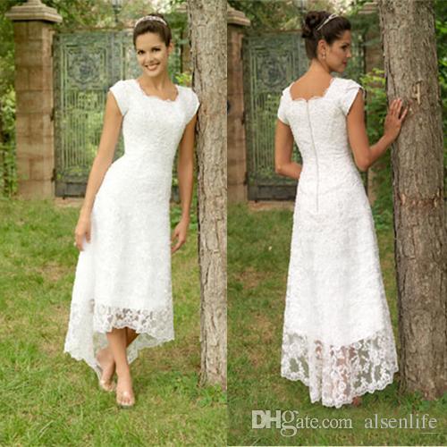 빈티지 레이스 웨딩 드레스 높은 낮은 짧은 소매 사각형 길이 짧은 신부 가운 라인 국가 웨딩 드레스