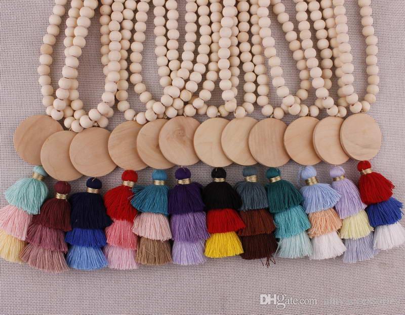 Weihnachtsgeschenk Holzscheibe Monogramm Rohlinge 10mm Runde natürliche Holz Perlen Kette Baumwolle 3 geschichteten Quaste Anhänger lange Kette Quaste Halskette