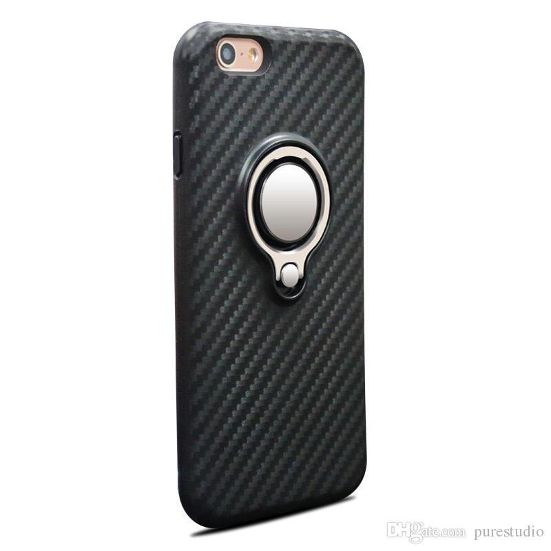Antypoślizgowe obudowy z włókna węglowego z pierścieniem do iPhone 7 8 x 9