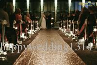 ShinyBeauty Champagne Marriage Ceremony Runner Wedding Sequin Aisle Runner-24Inch by 15FT Aisle Runner Wedding Party Decoration