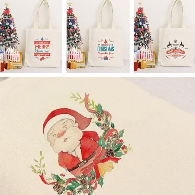 Christmas Canvas Bag Women's Single Shoulder Bag Korean Style Canvas Bags Retro Style Shopping Bag Handbag Student Book Bags T7I409