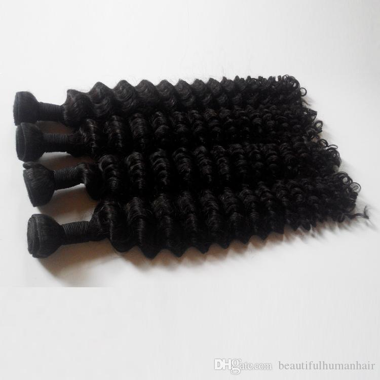HOT selling Brazilian virgin human Hair weaves 3 4 5pcs double Weft Natural black 8-28inch Deep wave European Indian remy hair extensions