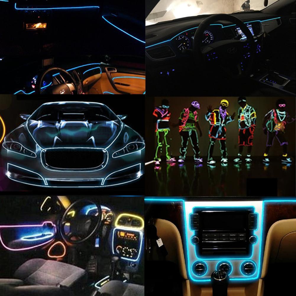 EL Wire 2 3 5 Metre Corda Tubo Cavo Fai da te Strisce Led Stringa Luci Bagliore al neon flessibile per decorazioni per interni Car Dance